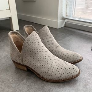 Lucky Brand Perforated Suede Booties - Gray